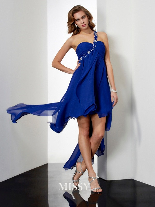 A-Line/Princess Asymmetrical One-Shoulder Chiffon Sleeveless Beading Dresses