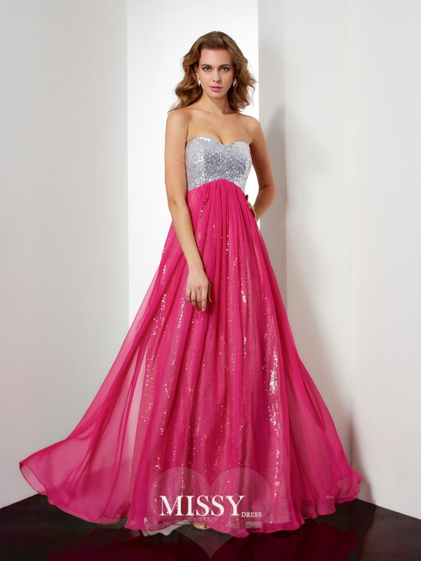 A-Line/Princess Sweetheart Beading Long Chiffon Dress