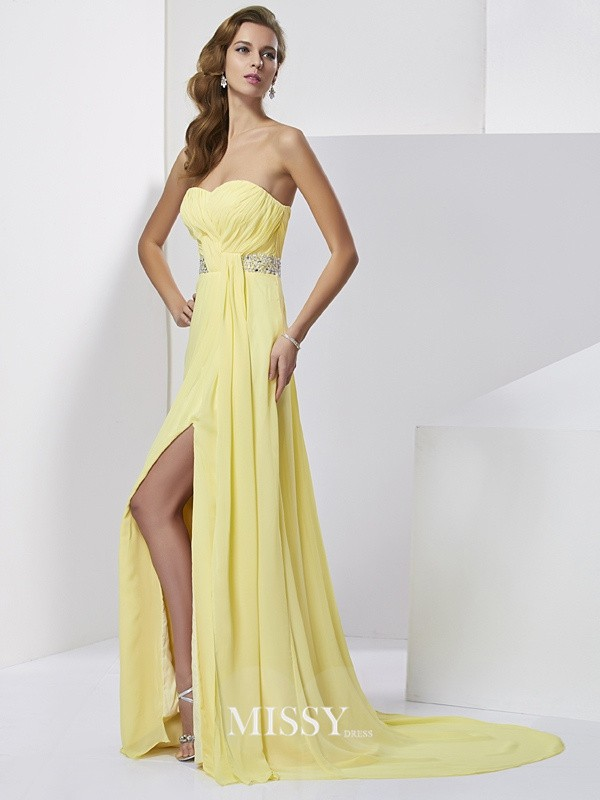Sheath/Column Beading Sweetheart Sweep/Brush Train Chiffon Dresses