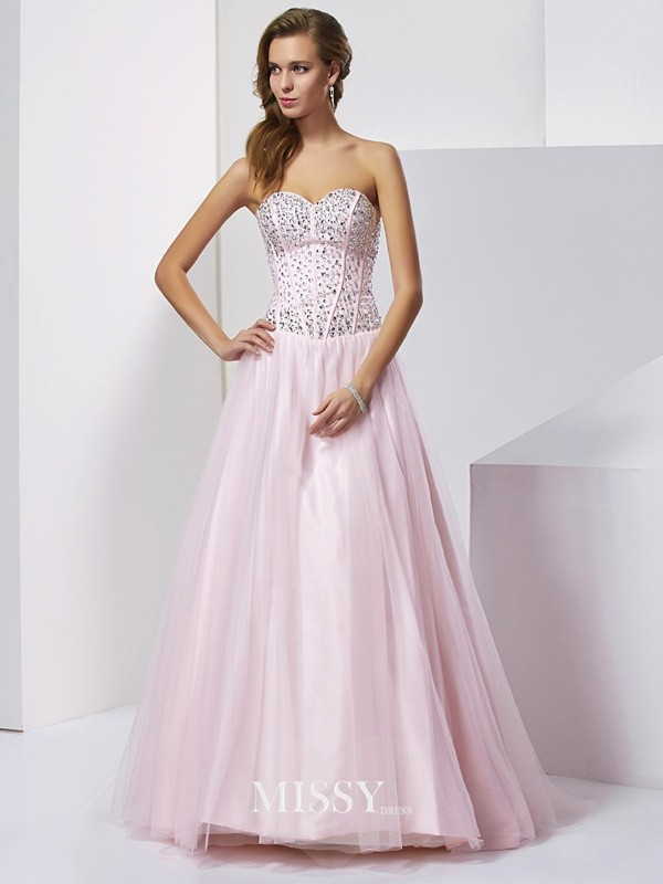 Ball Gown Beading Sweetheart Floor-Length Satin Dresses