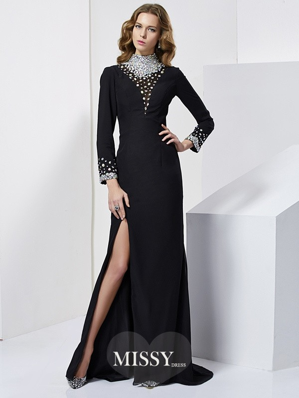 Sheath/Column Long Sleeves High Neck Beading Sweep/Brush Train Chiffon Dresses