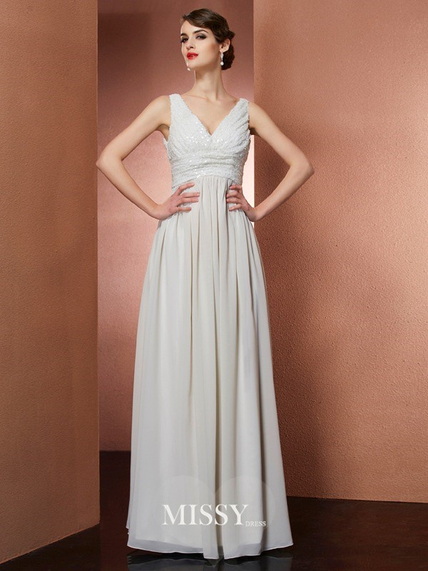 A-Line V-Neck Sleeveless Long Chiffon Dresses