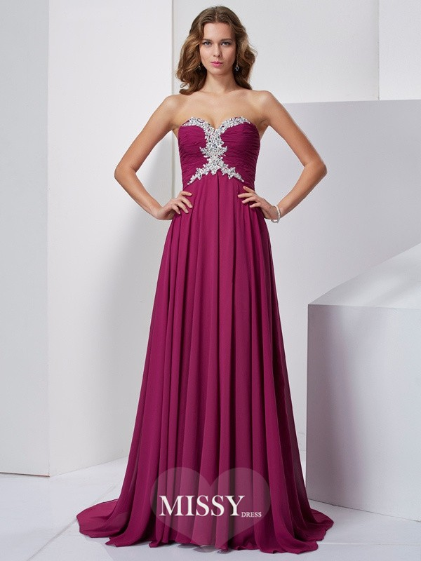 A-Line/Princess Sleeveless Sweetheart Sweep/Brush Train Chiffon Dresses