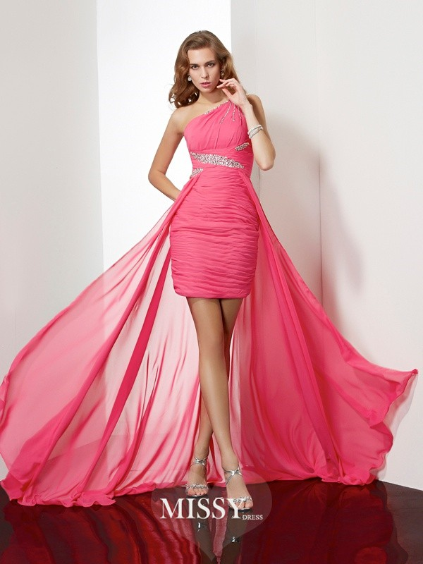 Sheath/Column One-Shoulder Beading Sleeveless Chiffon Short/Mini Dresses