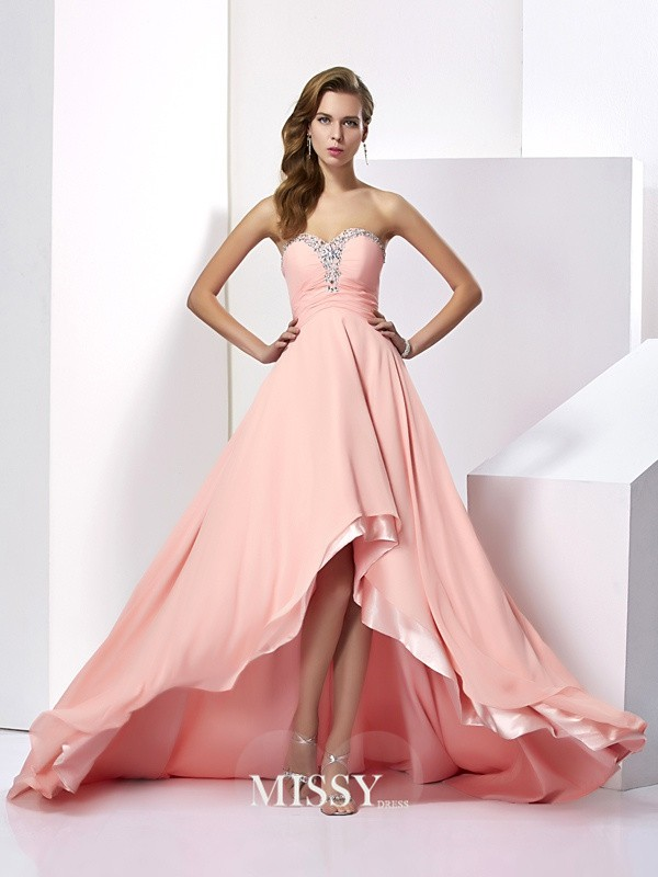 A-Line/Princess Chiffon Sleeveless Beading Sweetheart Sweep/Brush Train Dresses