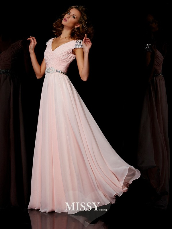 A-line V-neck Long Short Sleeves Beading Chiffon Dresses