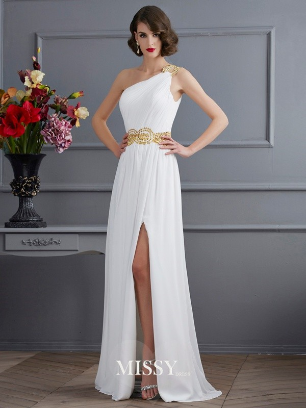 A-Line/Princess One-Shoulder Ruched Sweep/Brush Train Chiffon Dresses