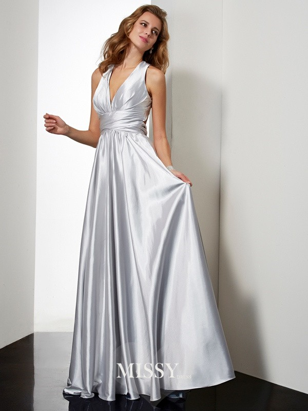A-Line/Princess Sleeveless Long Halter Pleats Elastic Woven Satin Dresses
