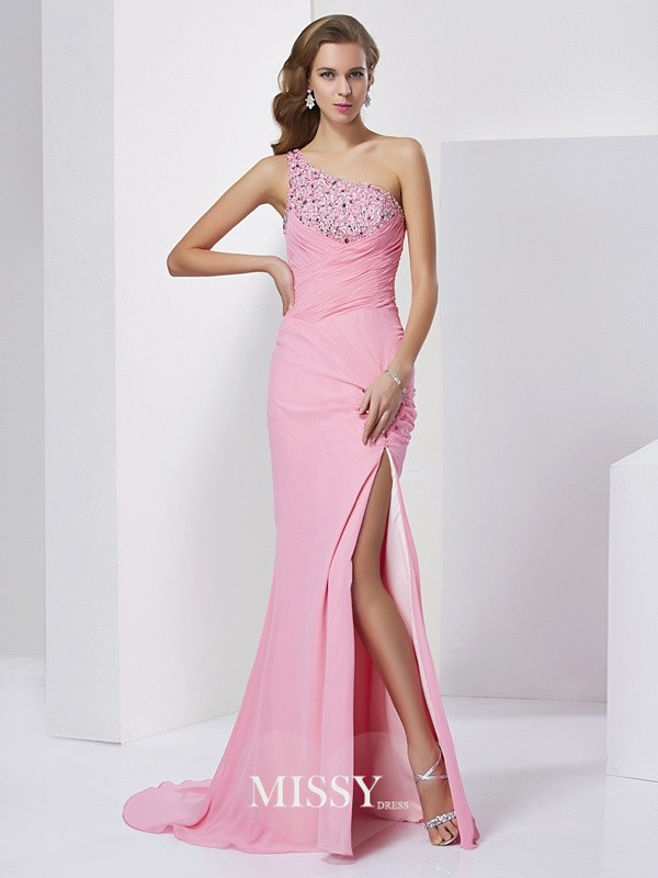 Sheath/Column Beading Sleeveless One-Shoulder Sweep Chiffon Dresses