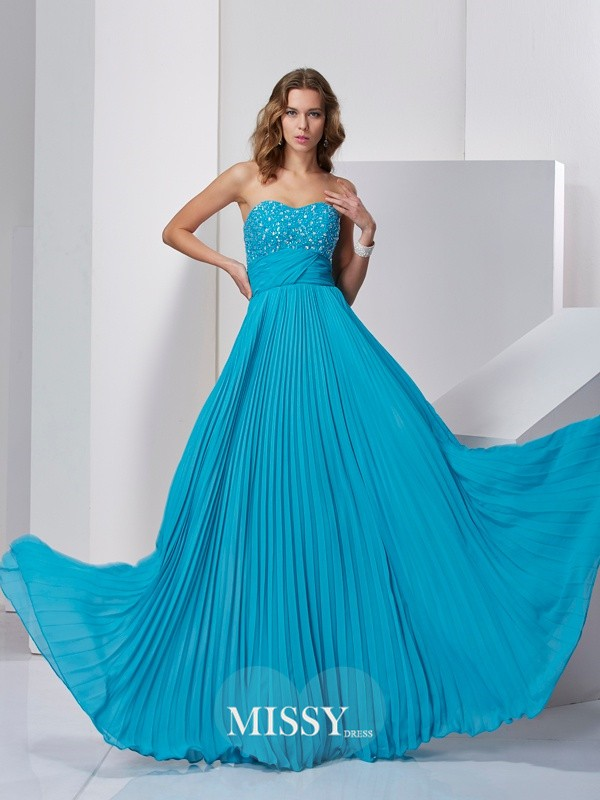 A-Line/Princess Sleeveless Sweetheart Long Chiffon Dresses
