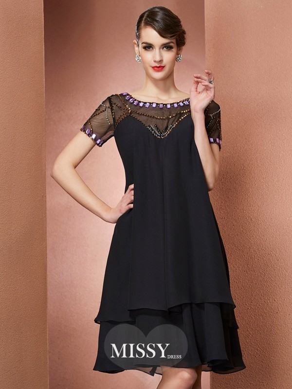 A-Line/Princess Scoop Short Sleeves Beading Knee-Length Chiffon Dresses