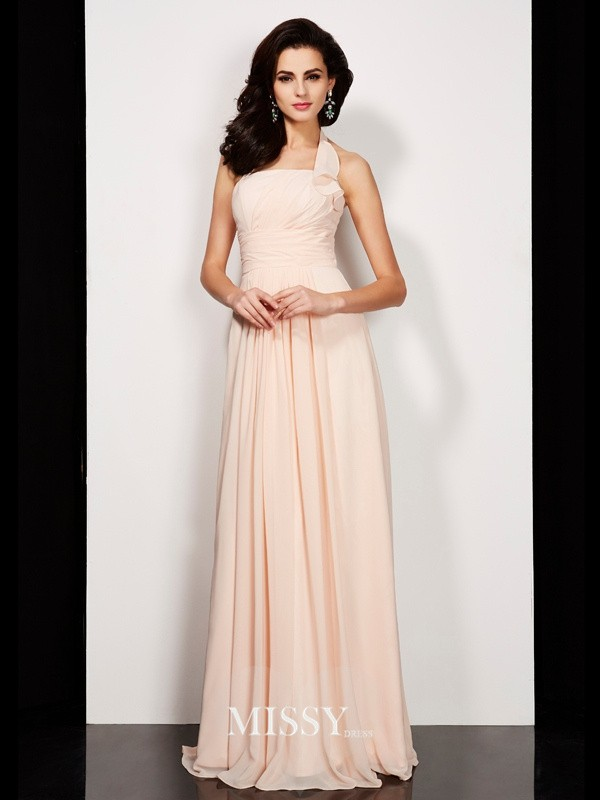 A-Line/Princess Sleeveless Pleats Halter Long Chiffon Dresses
