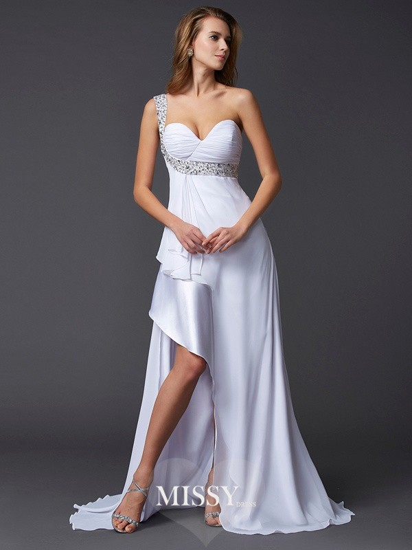 Princess Beading Sleeveless One-Shoulder Sweep/Brush Train Chiffon Dresses