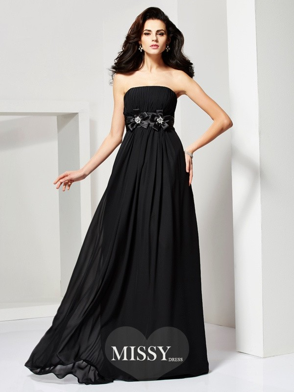 A-Line/Princess Sleeveless Strapless Hand-Made Flower Chiffon Dresses