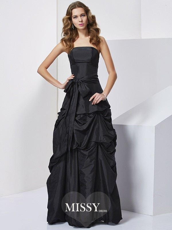 Sheath/Column Strapless Sleeveless Bowknot Taffeta Long Dresses