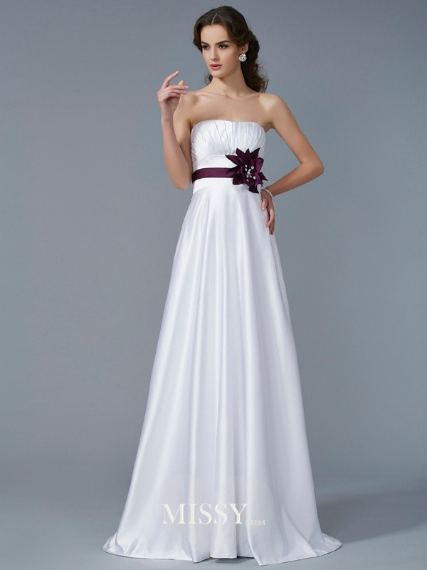 Princess Strapless Sleeveless Hand-Made Flower Satin Sweep/Brush Train Dresses
