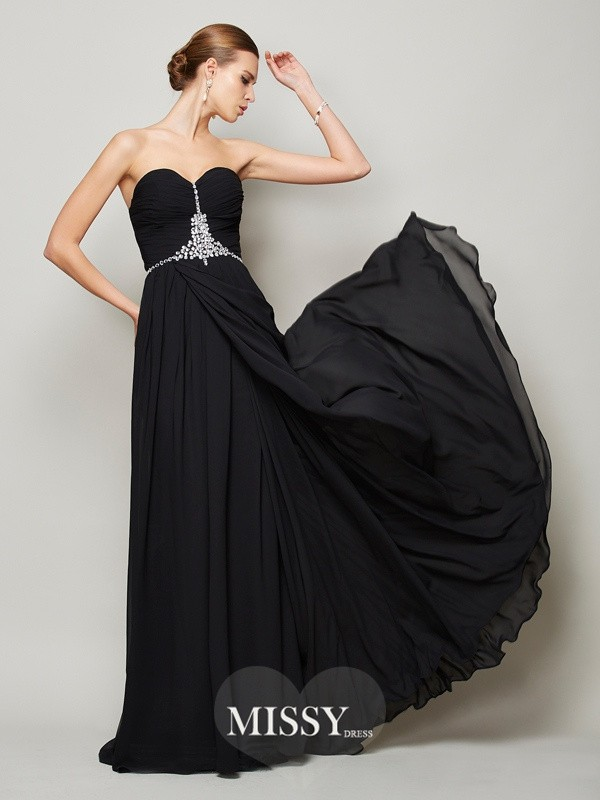 A-Line/Princess Beading Long Sweetheart Sleeveless Chiffon Dresses