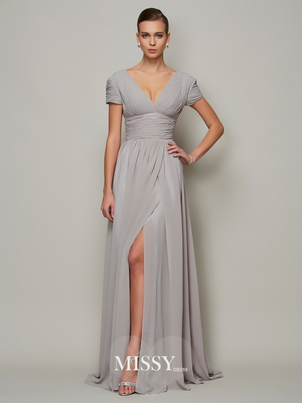 A-line V-neck Floor-length Short Sleeves Chiffon Dresses