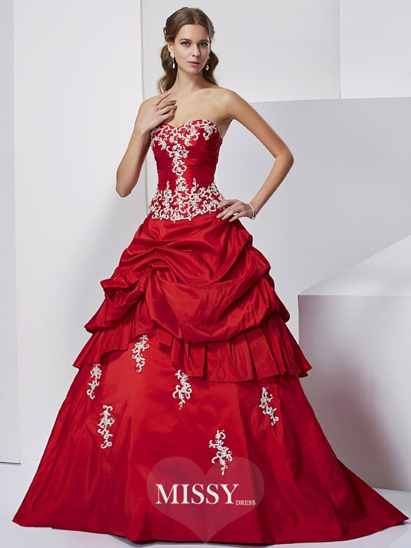 Ball Gown Sweetheart Sleeveless Applique Long Beading Taffeta Dresses