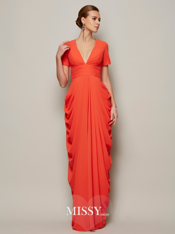 Sheath Short Sleeves V-neck Pleats Floor-length Chiffon Dresses