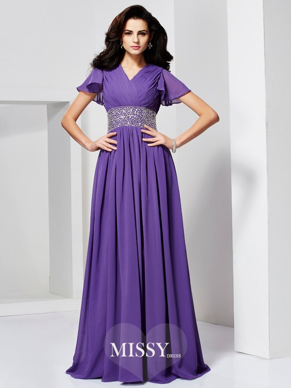 Princess Short Sleeves V-neck Beading Floor-Length Chiffon Dresses