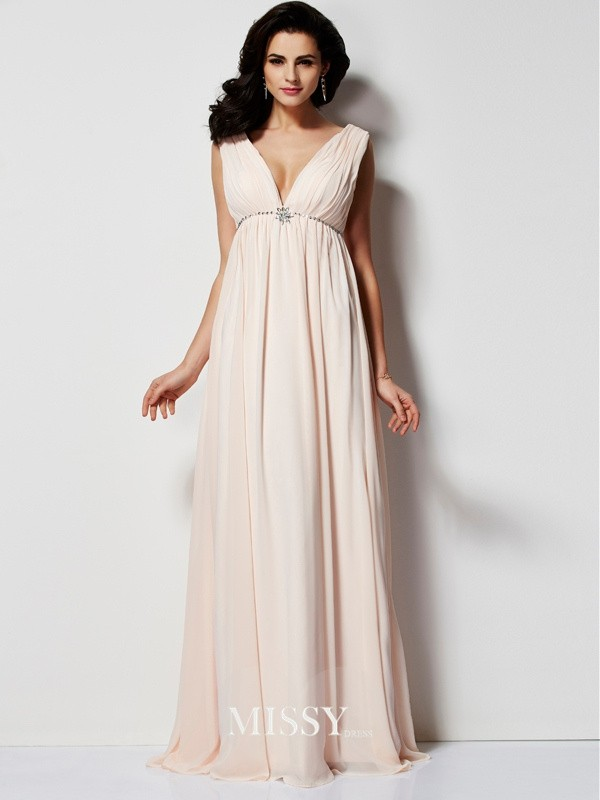 A-Line/Princess Sleeveless Pleats V-neck Long Chiffon Dresses