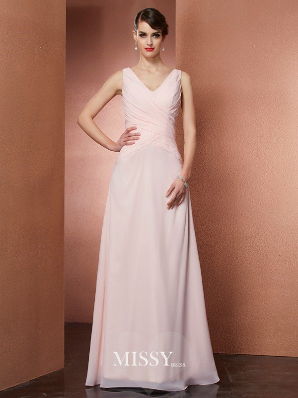 A-Line/Princess V-neck Pleats Sleeveless Chiffon Long Dresses