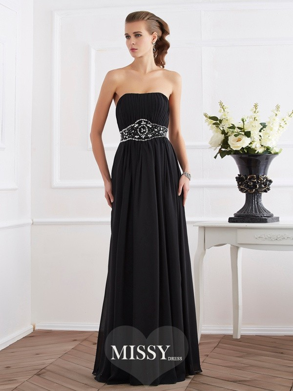Strapless Sleeveless Beading Long Chiffon Dresses