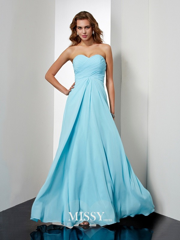 Sweetheart Beading Sleeveless Floor-Length Chiffon Dresses