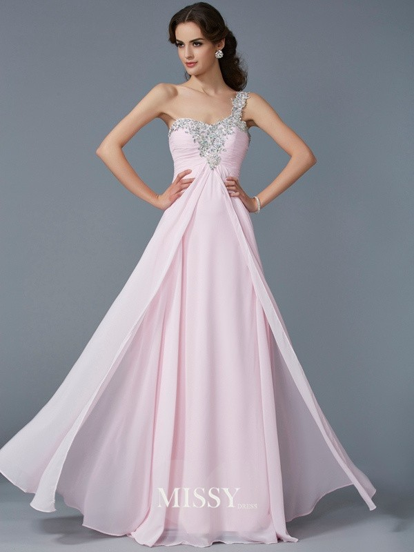 A-Line One-Shoulder Sleeveless Beading Applique Chiffon Floor-Length Dresses