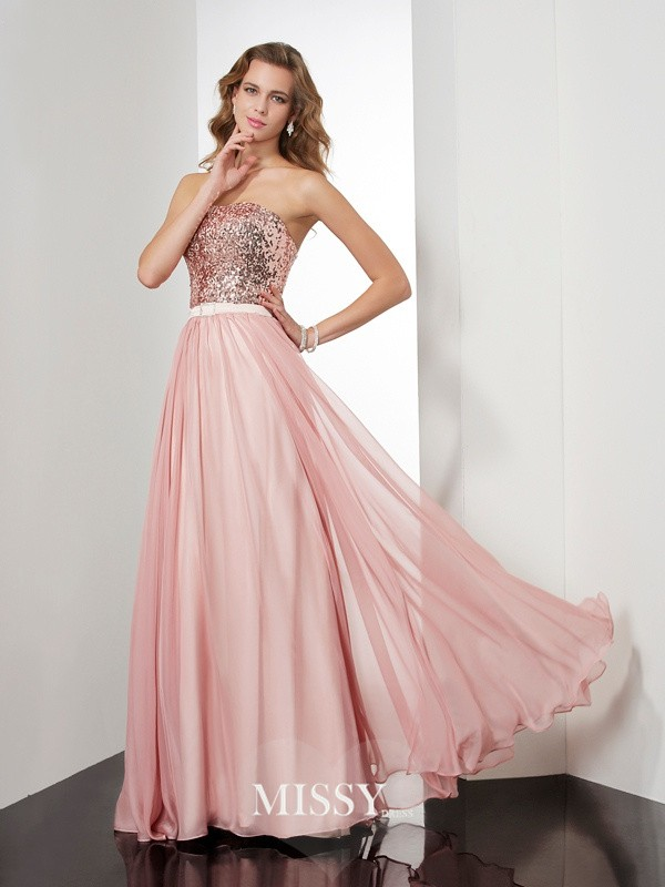 A-Line/Princess Sleeveless Strapless Paillette Long Chiffon Dresses