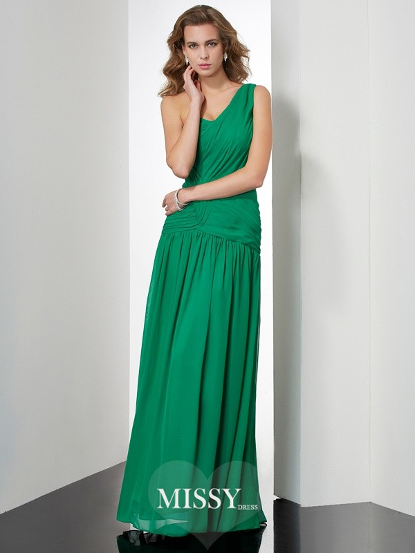 Princess Sleeveless One-Shoulder Pleats Floor-Length Chiffon Dresses