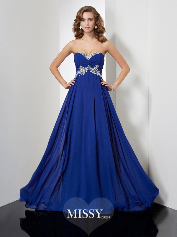 A-line/Princess Beading Sleeveless Sweetheart Sweep/Brush Train Chiffon Dresses