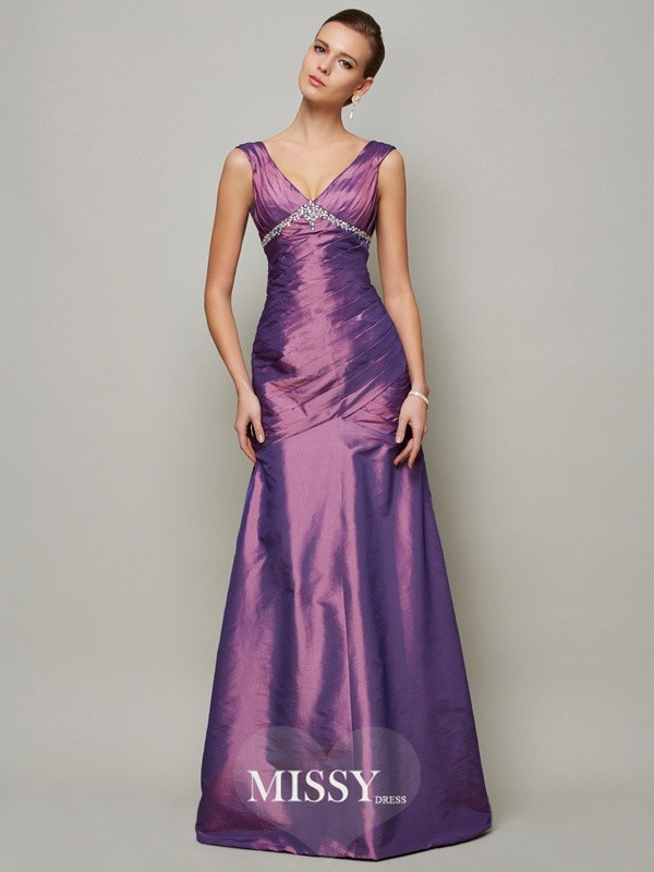 Sheath Sleeveless V-neck Ruffles Floor-Length Taffeta Dresses
