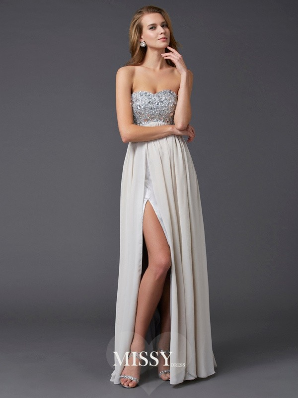 A-line/Princess Ankle-length Sweetheart Beading Sleeveless Chiffon Dresses