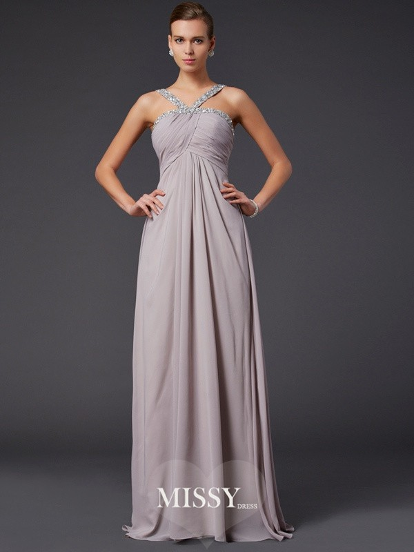 Sheath/Column Sleeveless Beading Halter Sweep/Brush Train Chiffon Dresses