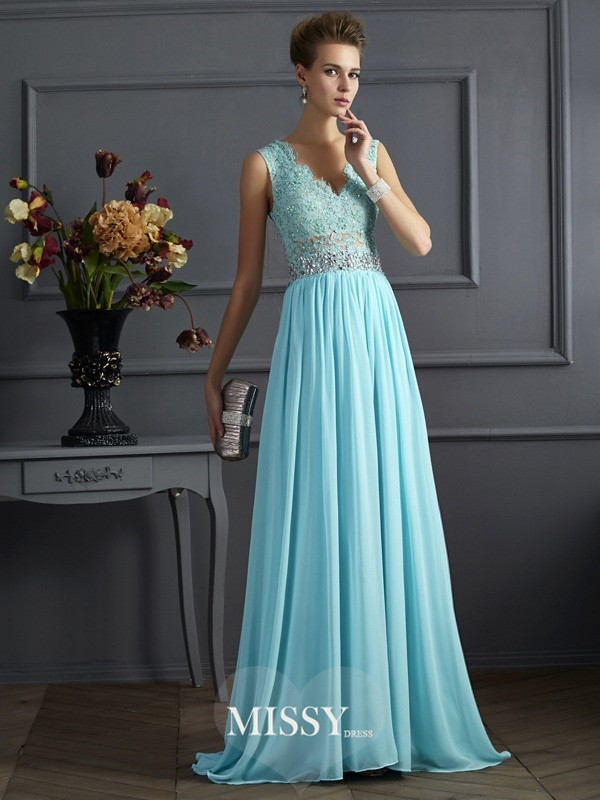 A-Line/Princess Sleeveless Straps Floor-Length Lace Chiffon Dresses
