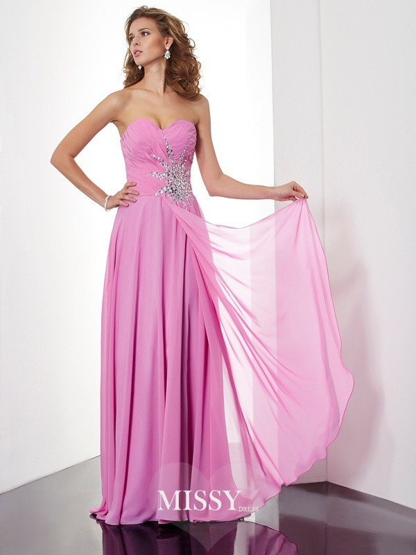 A-Line Floor-Length Sleeveless Ruched Sweetheart Chiffon Dresses