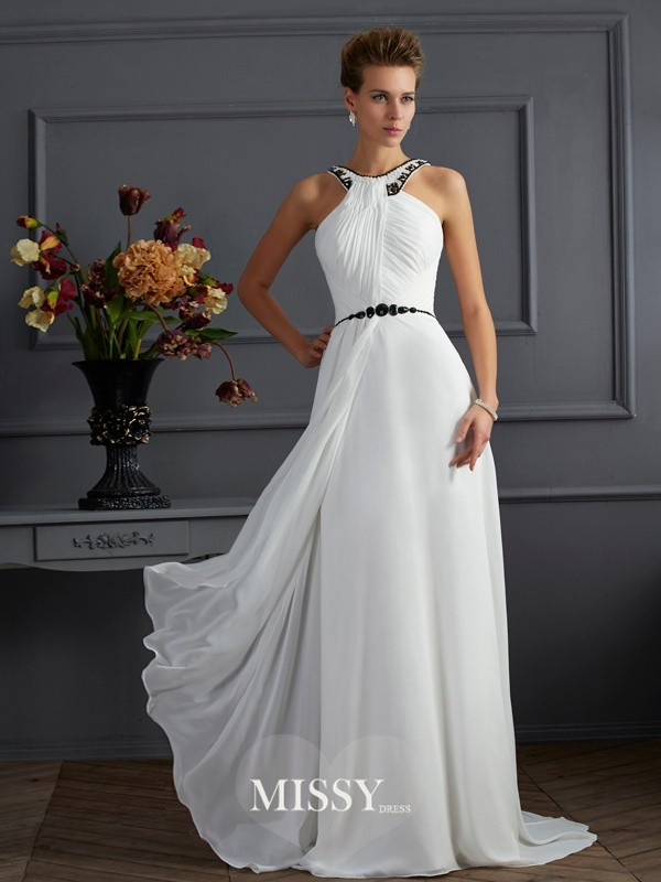 A-Line/Princess High Neck Sleeveless Beading Sweep/Brush Train Chiffon Dresses