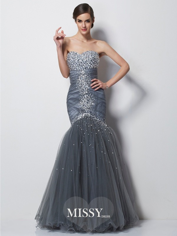 Trumpet/Mermaid Sweetheart Sleeveless Beading Long Satin Dresses