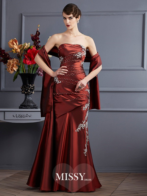 Sheath/Column Sleeveless Strapless Applique Floor-Length Beading Taffeta Dress