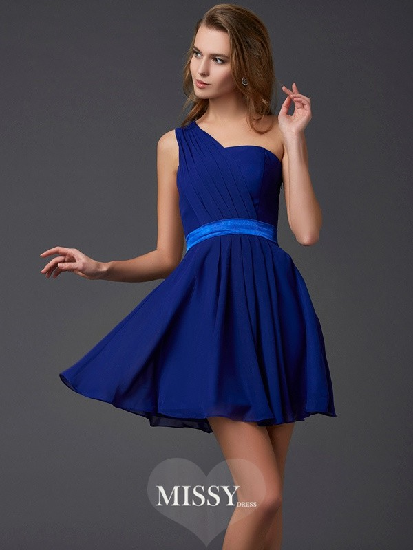 A-Line/Princess Sleeveless Chiffon One-Shoulder Pleats Short/Mini Dresses