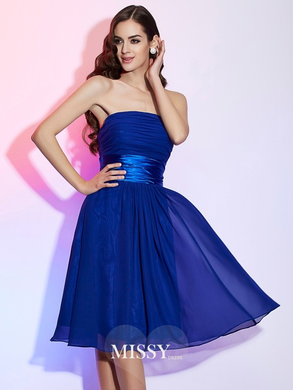 A-Line/Princess Strapless Sleeveless Bowknot Knee-Length Chiffon Dresses