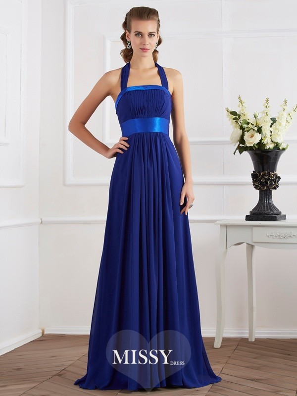 A-Line/Princess Halter Sleeveless Ruched Long Chiffon Dresses