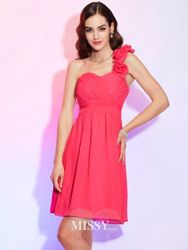 A-Line/Princess One-Shoulder Sleeveless Pleats Short/Mini Chiffon Dresses
