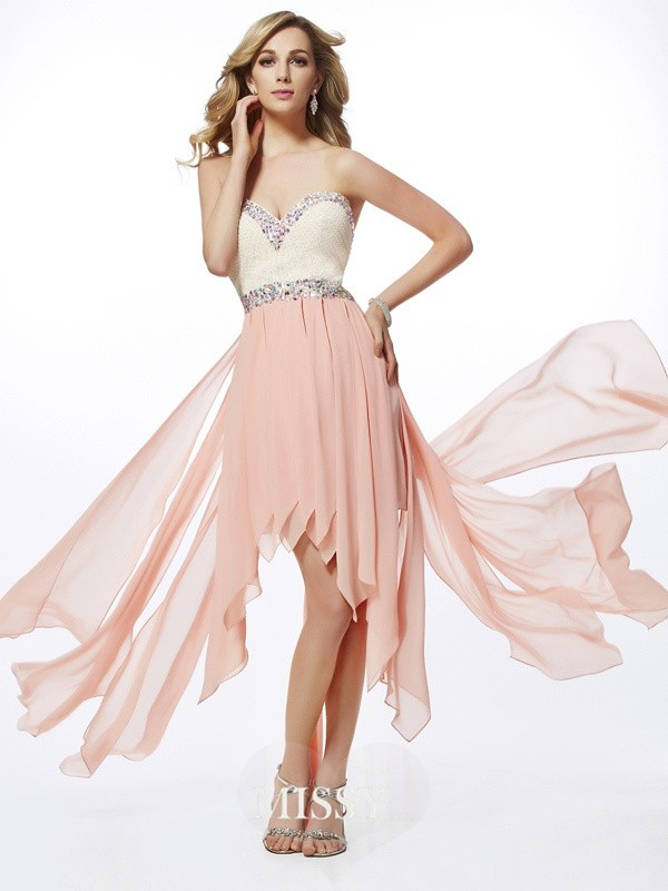 Sweetheart Sleeveless Beading Asymmetrical Chiffon Dresses