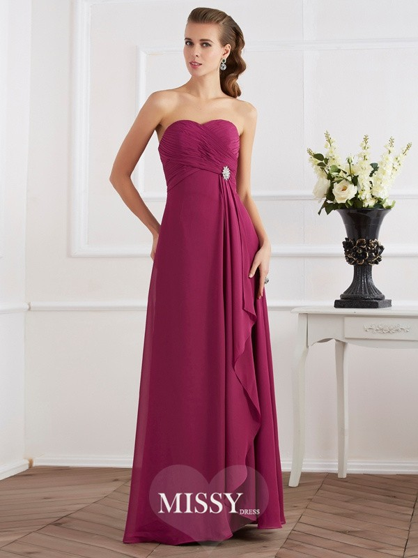 Sheath/Column Sweetheart Sleeveless Chiffon Long Dresses