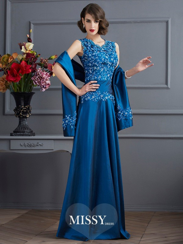 A-Line/Princess V-neck Sleeveless Applique Beading Floor-Length Taffeta Dress