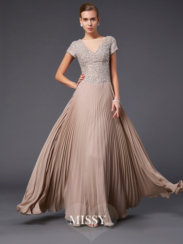 A-line/Princess V-neck Beading Short Sleeves Floor-length Chiffon Dress