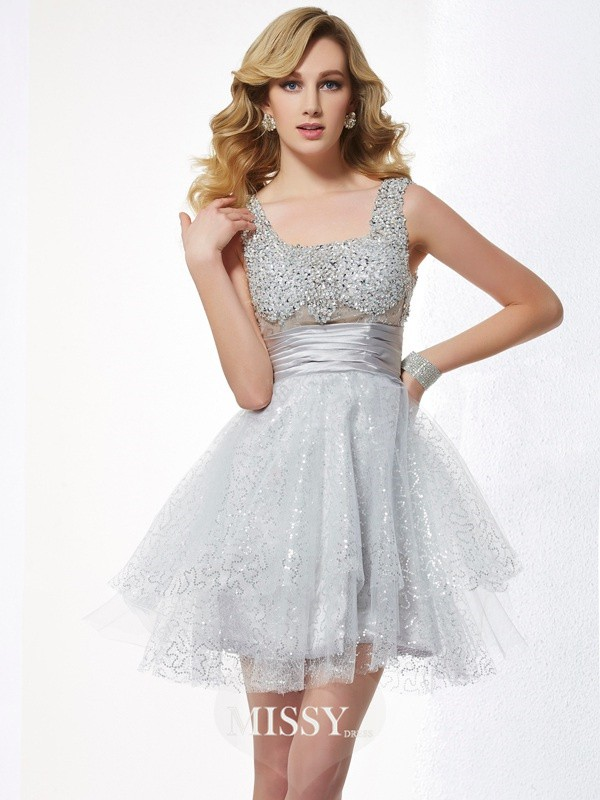 A-Line/Princess Sleeveless Straps Beading Short/Mini Elastic Woven Satin Dress
